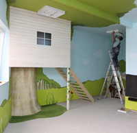 Wall painting in child's bedroom