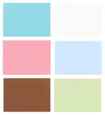 Bathroom color scheme of pink and turquoise