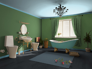 Cool green bathroom