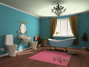 Turquoise and pink bathroom