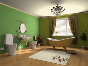warm green bathroom