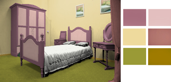 Mustard and old pink bedroom color scheme
