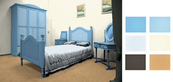 Pastel blue and ochre bedroom color scheme