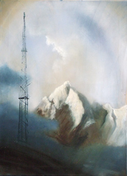 Oil painting, with mountain