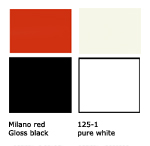 Red, black and offwhite kitchen color scheme