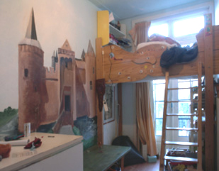 Faux painted castle