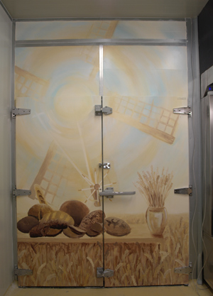 Mural on a bakery freezer