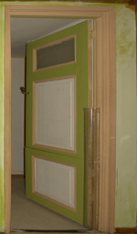 Door with painted wood trim