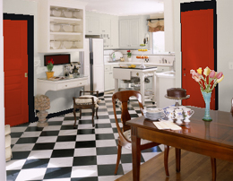 Red and black kitchen colors
