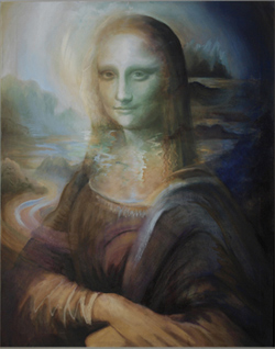 Oil painting about the Monalisa