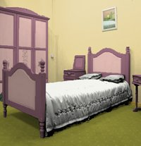 Bedroom painted in mustard and pink colors
