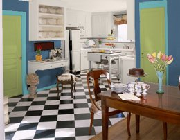 Green and blue kitchen colors