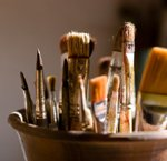 Oil painting supplies: brushes